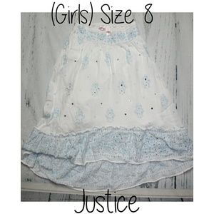 Justice Girls Hi Lo Skirt Blue Sparkle Rhinestone